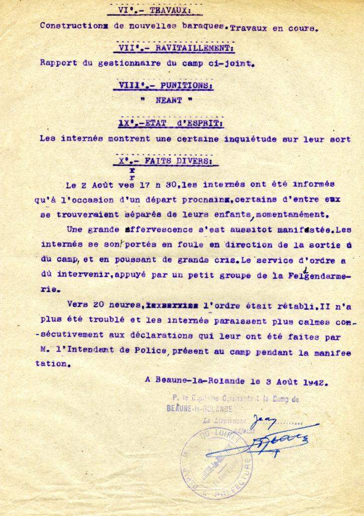 Rapport du 3 août 1942