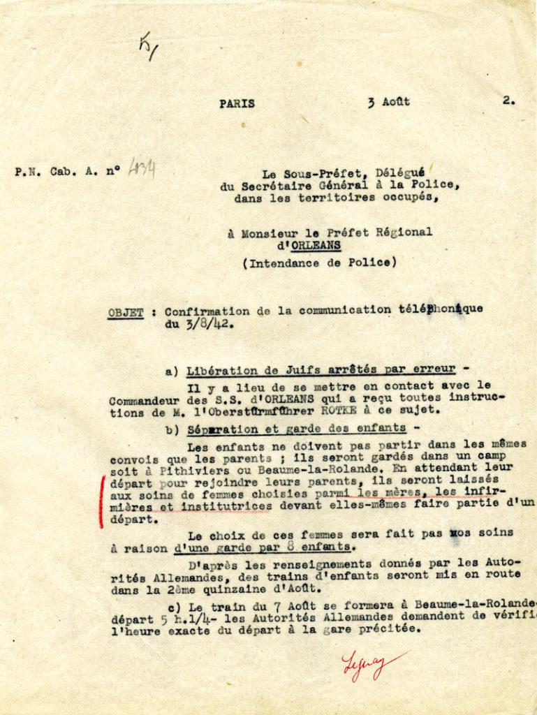 Note de Leguay, délégué de Bousquet.