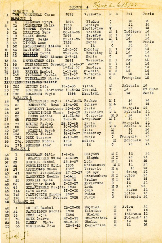 Liste de déportation convoi 16.