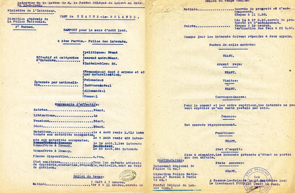 Rapport pour le mois d'Août 1942 », Beaune-la-Rolande.