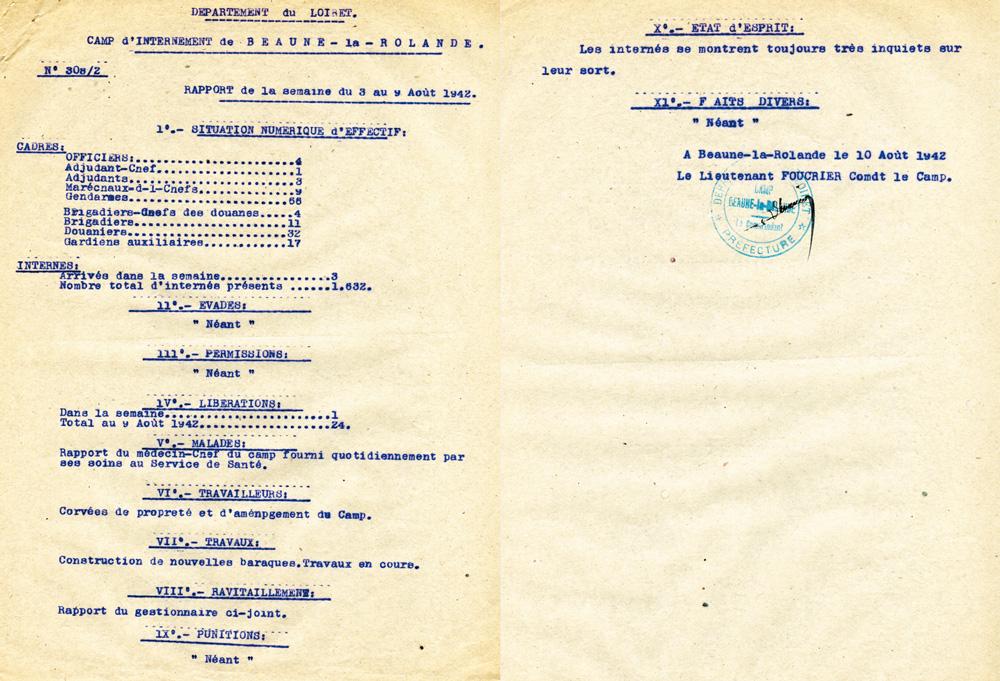 Rapport de la semaine du 3 au 9 Août 1942