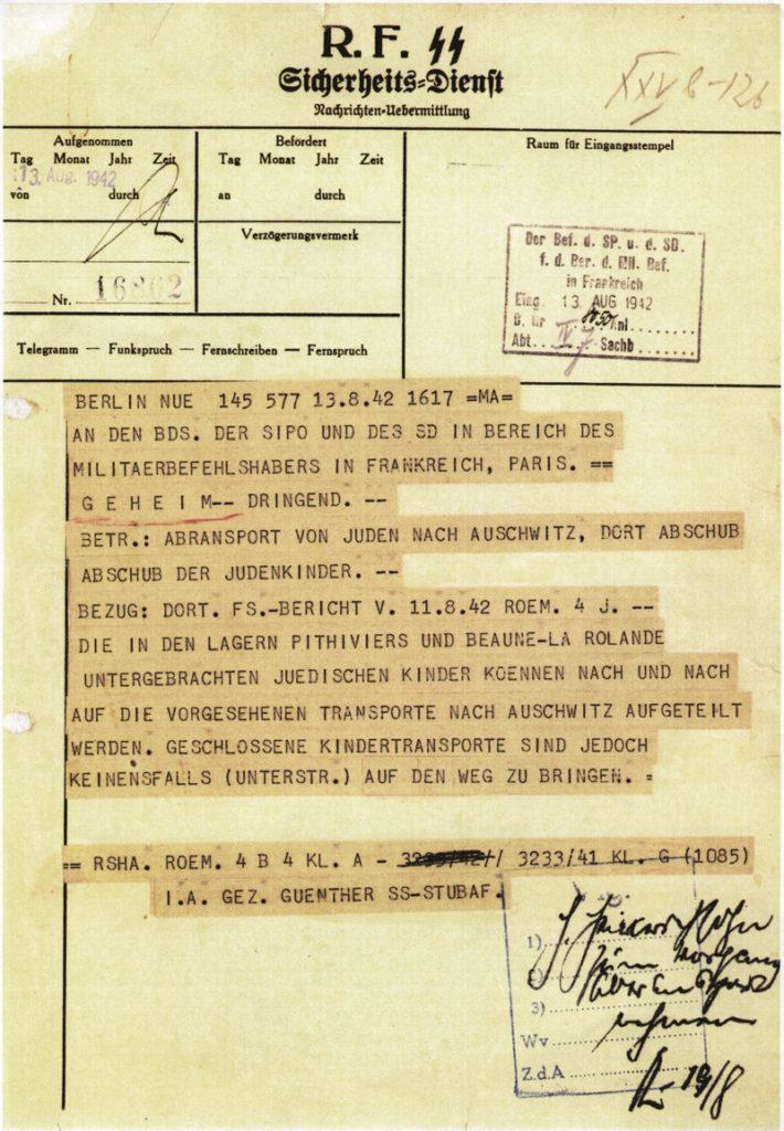 Télégramme du service antijuif de Berlin