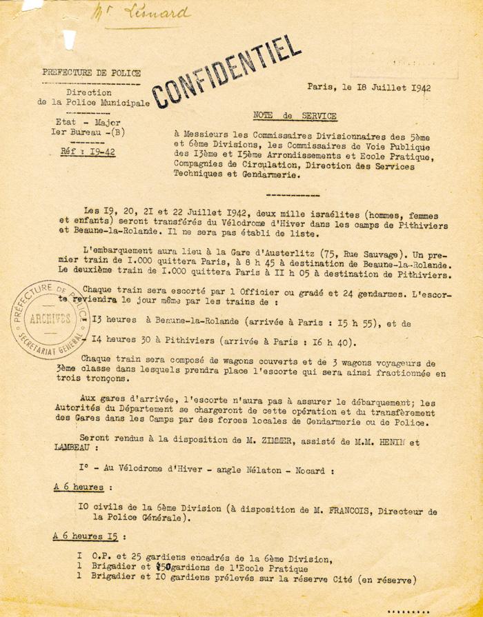 Note de service de la préfecture de police de Paris