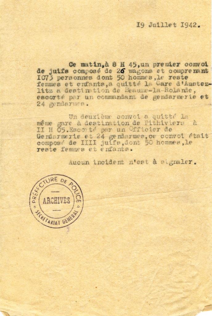 Compte-rendu des premiers transferts de Paris vers Pithiviers.